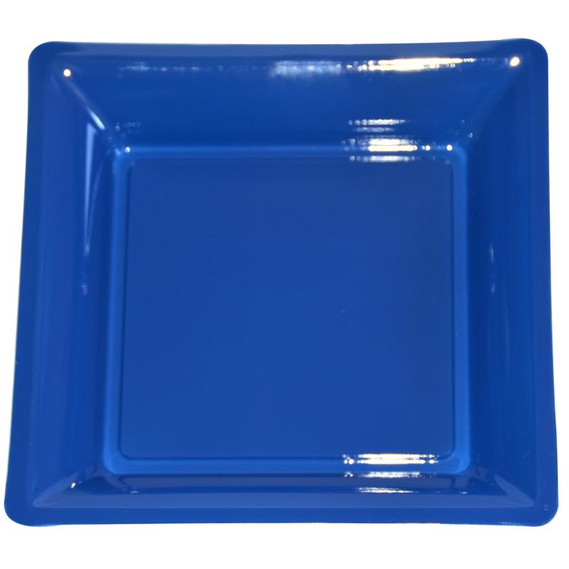 Lot De 12 Assiettes Bleu Roy De 30 5cm Carrees Plastique