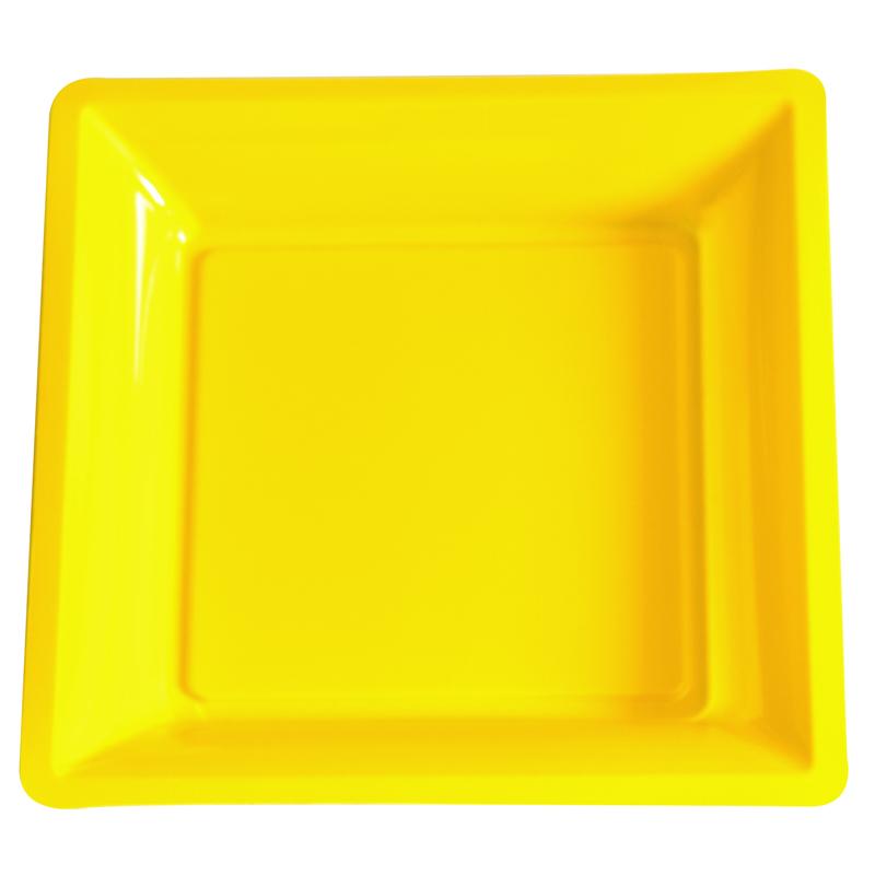 lot de 12 assiettes jaune de 30 5cm carrees plastique. Black Bedroom Furniture Sets. Home Design Ideas