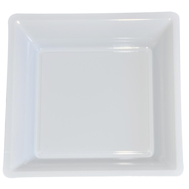 lot de 12 assiettes blanche de 30 5cm carrees plastique. Black Bedroom Furniture Sets. Home Design Ideas