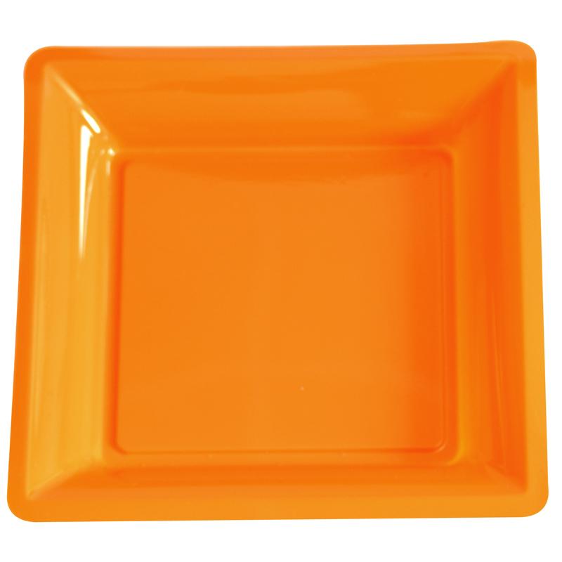 lot de 12 assiettes orange de 30 5cm carrees plastique. Black Bedroom Furniture Sets. Home Design Ideas