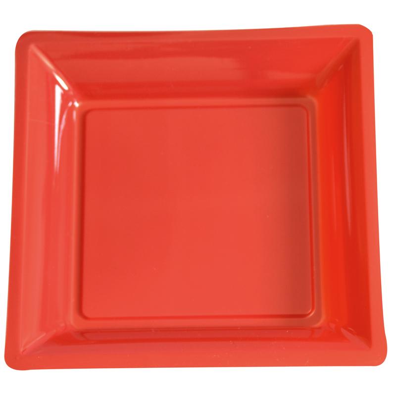 lot de 12 assiettes rouge de 30 5cm carrees plastique. Black Bedroom Furniture Sets. Home Design Ideas